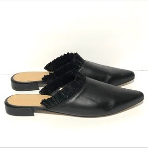 FIRTH Fringed Slip On Mules Flats Black Sz 9.5/10